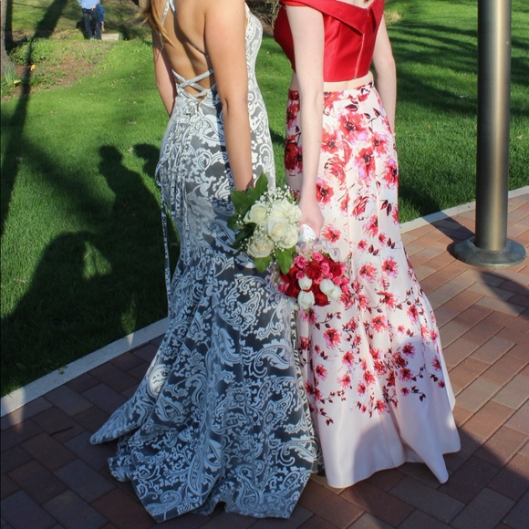 Tiffany Designs Dresses & Skirts - Gray and White Patterned Prom Dress